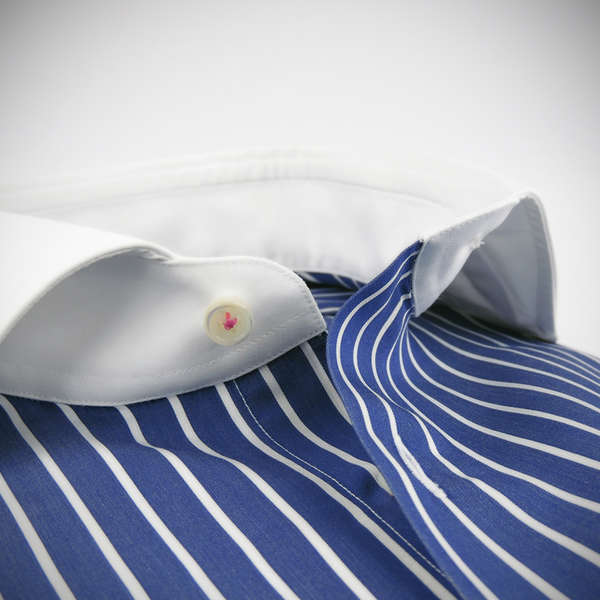white collar, inky stripes, 100% cotton two ply